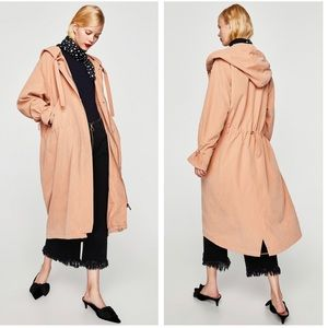 Zara NWT Hooded Utility Trench Coat Dusty Pink